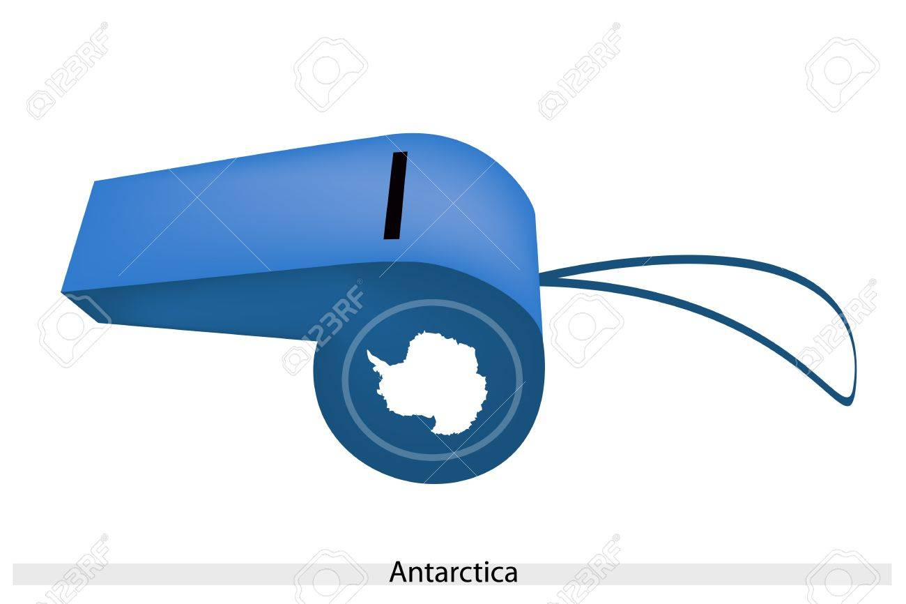 An Illustration of Plain White Map of The Continent On A Blue Color of Antarctica Flag on A Whistle, The Sport Concept and Political Symbol. Stock Vector - 25119163