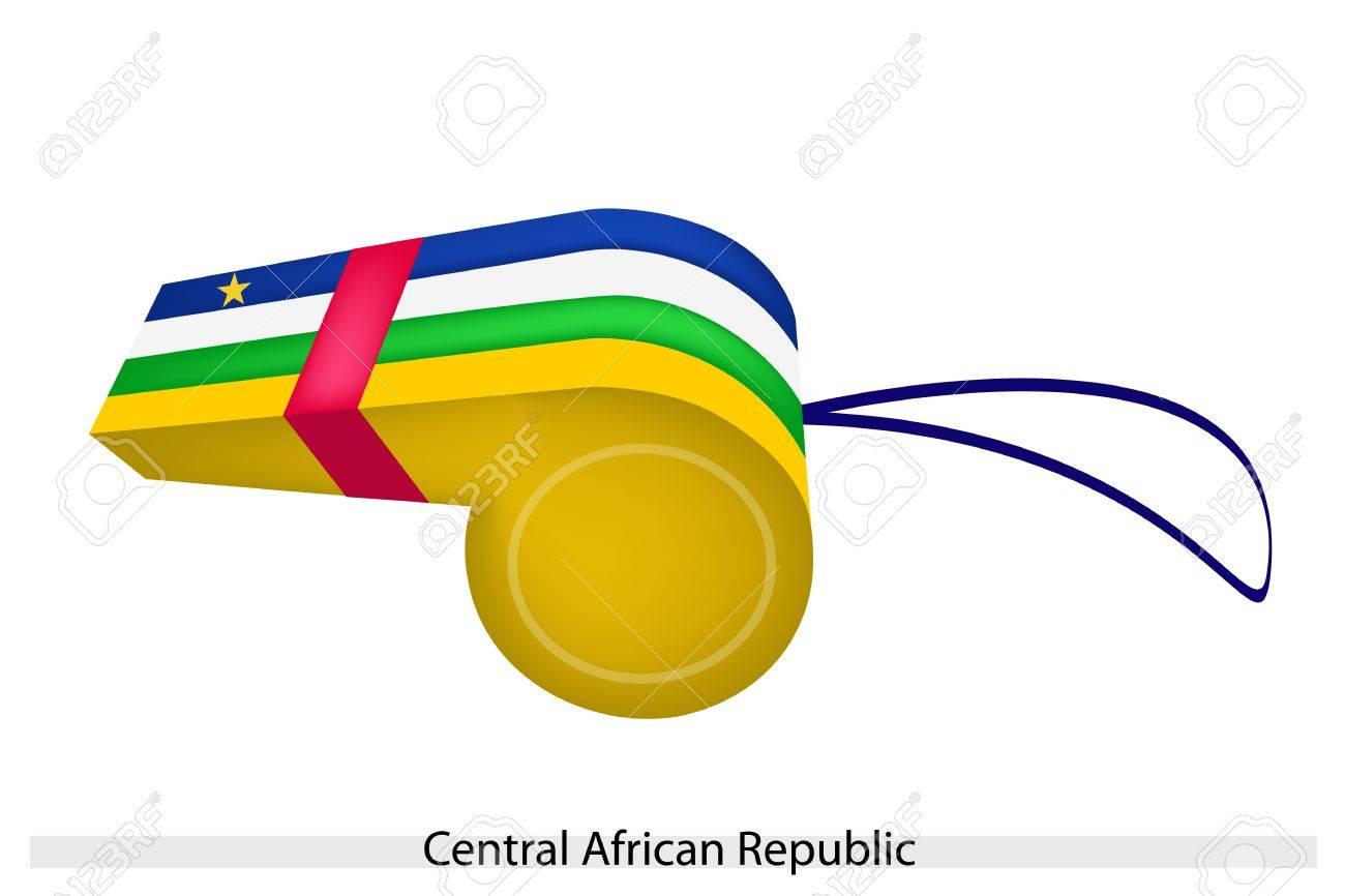 Bleu Blanc Vert Et Jaune Bandes Avec Un Jaune étoile De Cinq Points De Le Drapeau De La République Centrafricaine Sur Un Coup De Sifflet Le Concept
