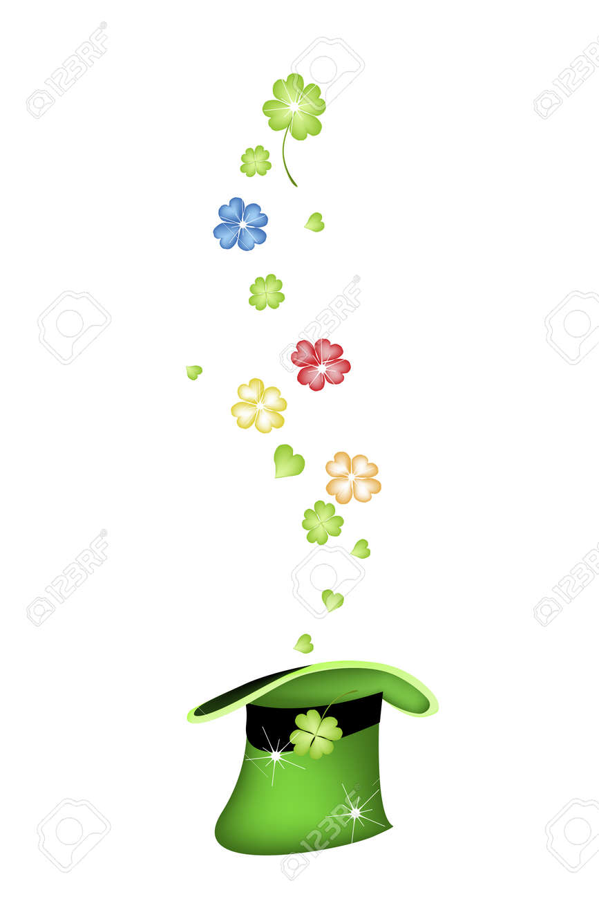 Symbols for Fortune and Luck, Vector Illustration Golden, Green, Red and Blue Four Leaf Clovers or Shamrocks Falling in A Saint Patrick's Hat. Stock Vector - 26414280