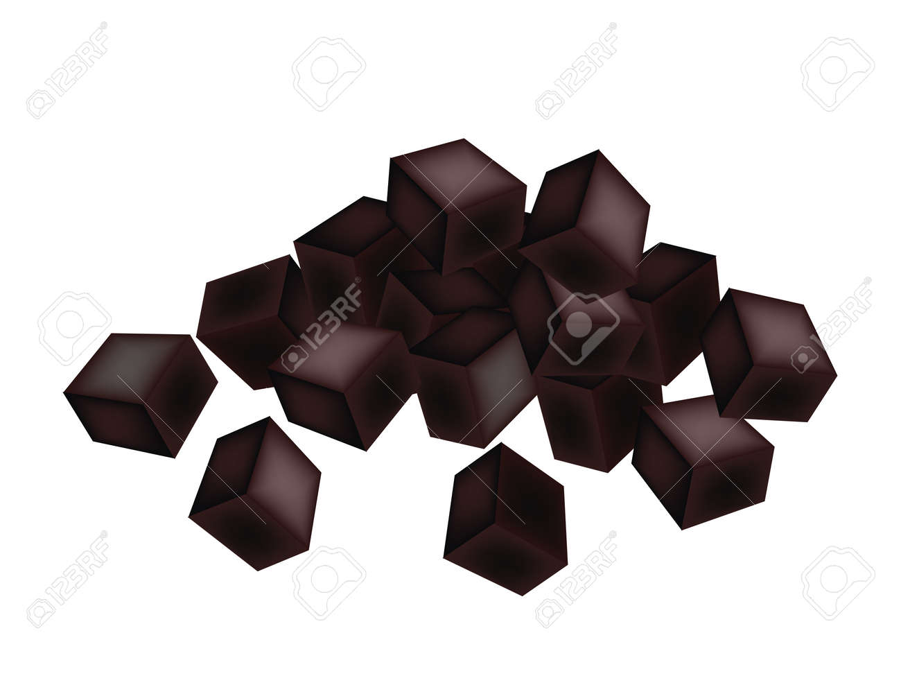 Sweet Food and Dessert, An Illustration of Grass jelly or Chinese Black Jelly Isolated on White Background. - 29447228