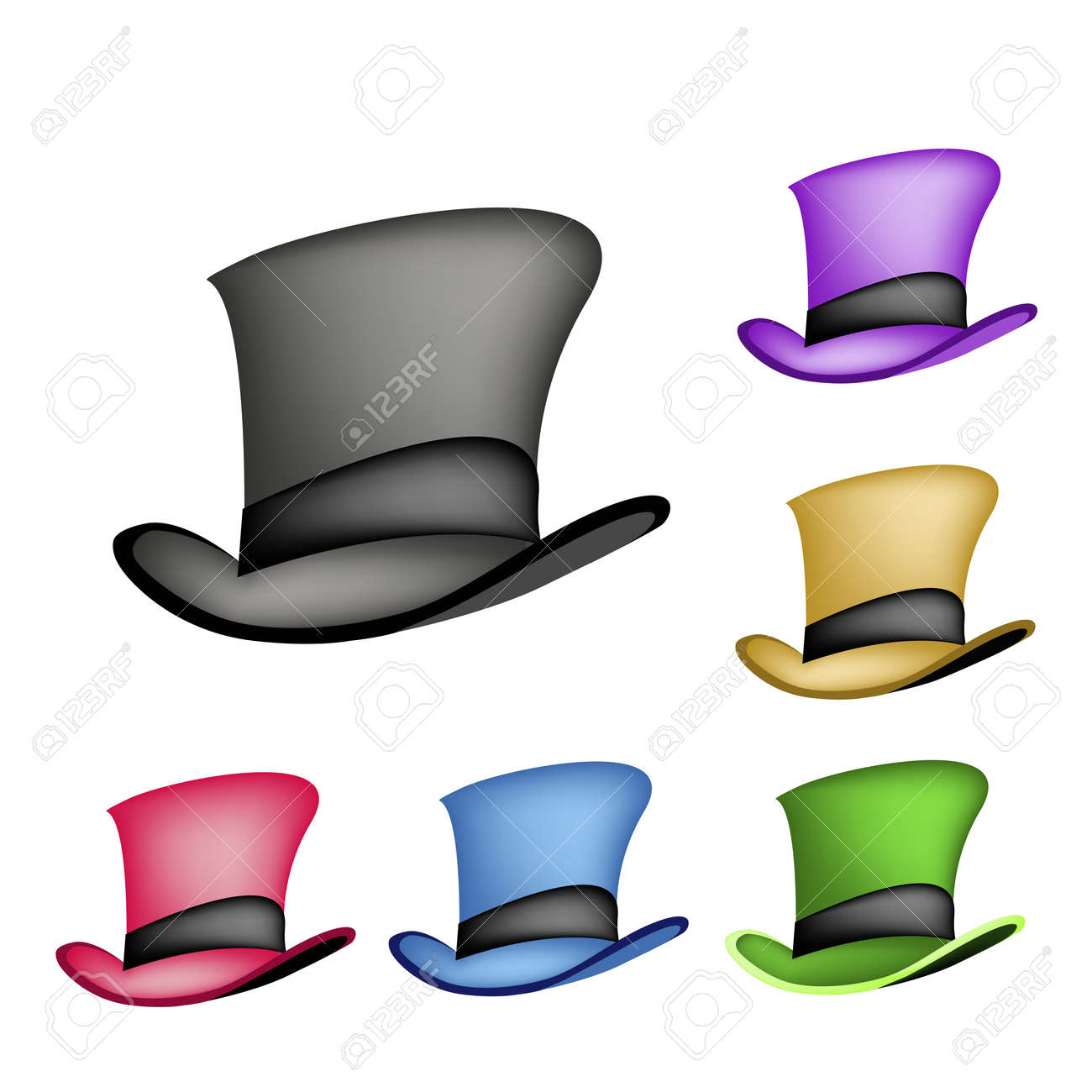 f5a90e05c67d7 An Illustration Collections of Six Colors of Classic Top Hat or Magic Hat  Isolated on A