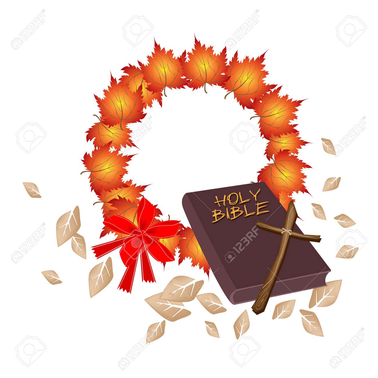Ilustración De Marrón Cubierto Biblia Con La Guirnalda De La Navidad ...