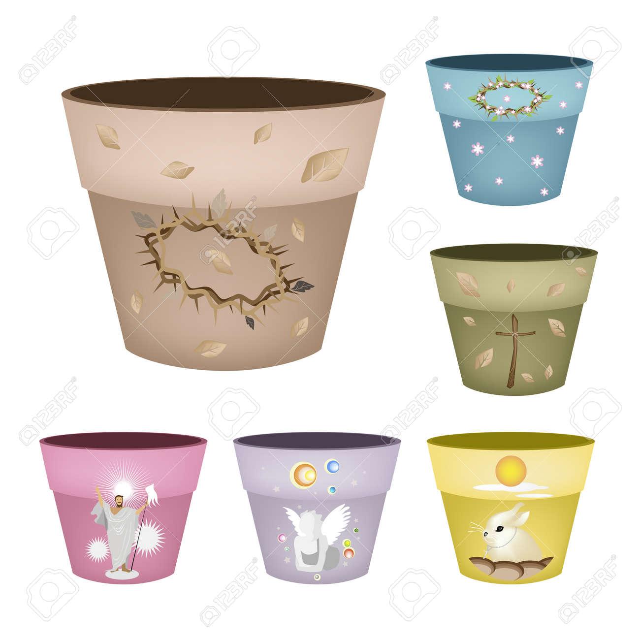 Decorative Flower Pots Clip Art