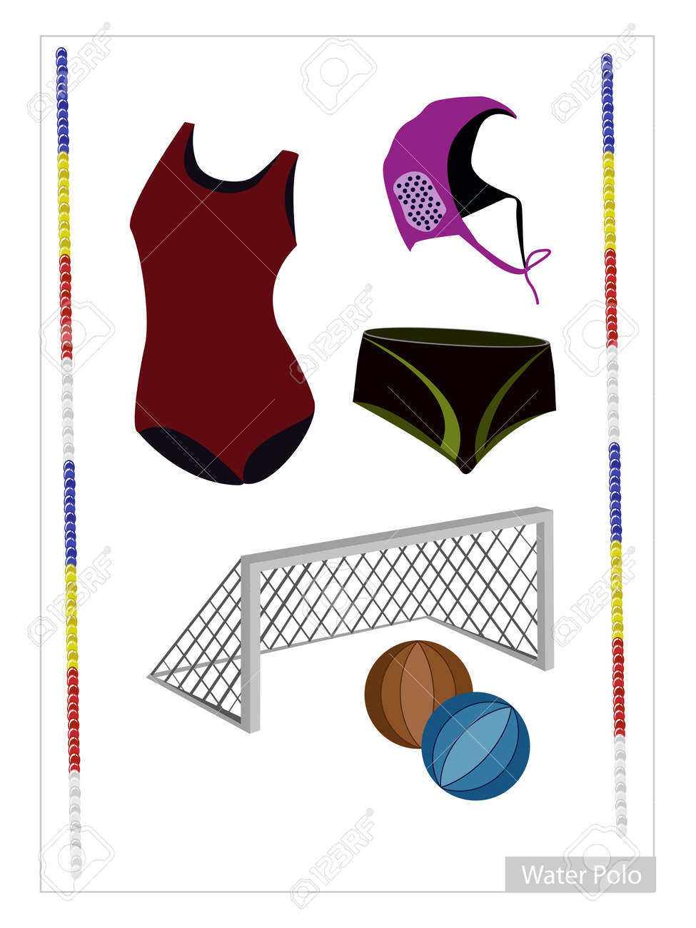 e1bca416ab533 Illustration Collection of Water Polo Accessory and Equipment Isolated on  White Background. Stock Vector -