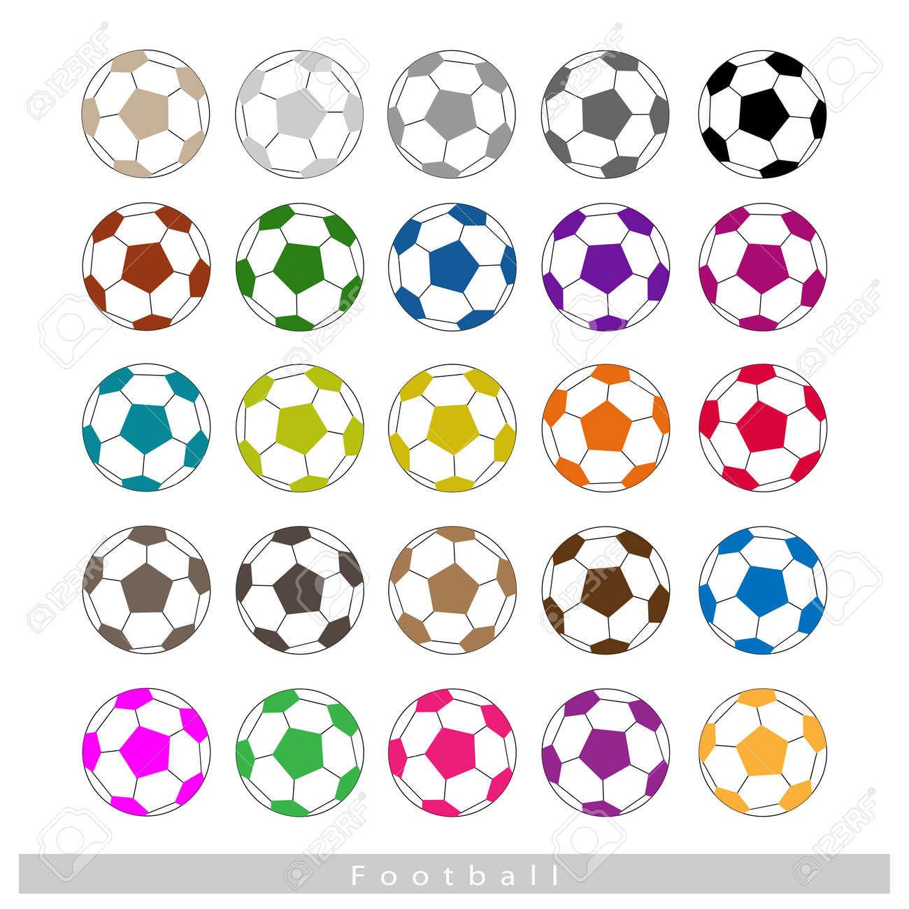 Illustration Collection Of 25 Assorted Color Soccer Ball Or ...