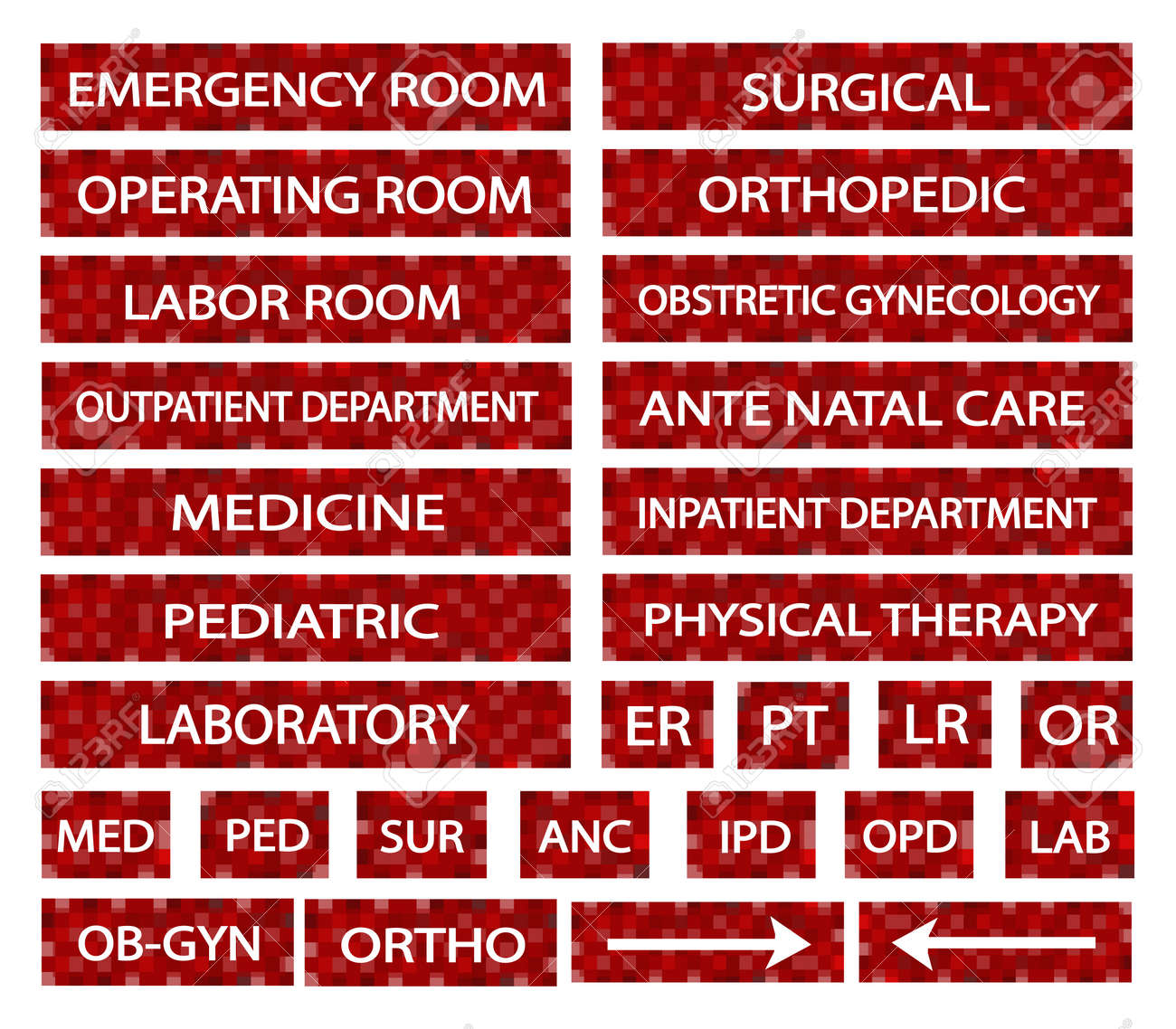 Illustration collection of hospital signs and medical illustration collection of hospital signs and medical abbreviations of different departments at a hospital in red sciox Images