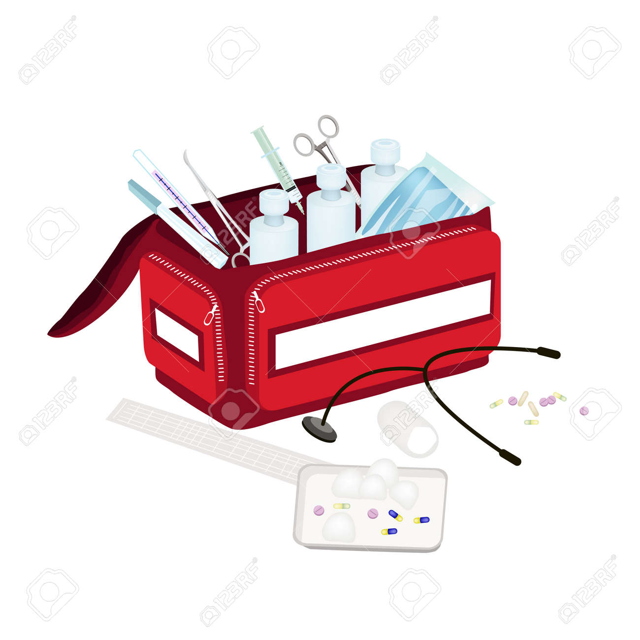 Medical Concept, Illustration of Open First Aid Box Filled with