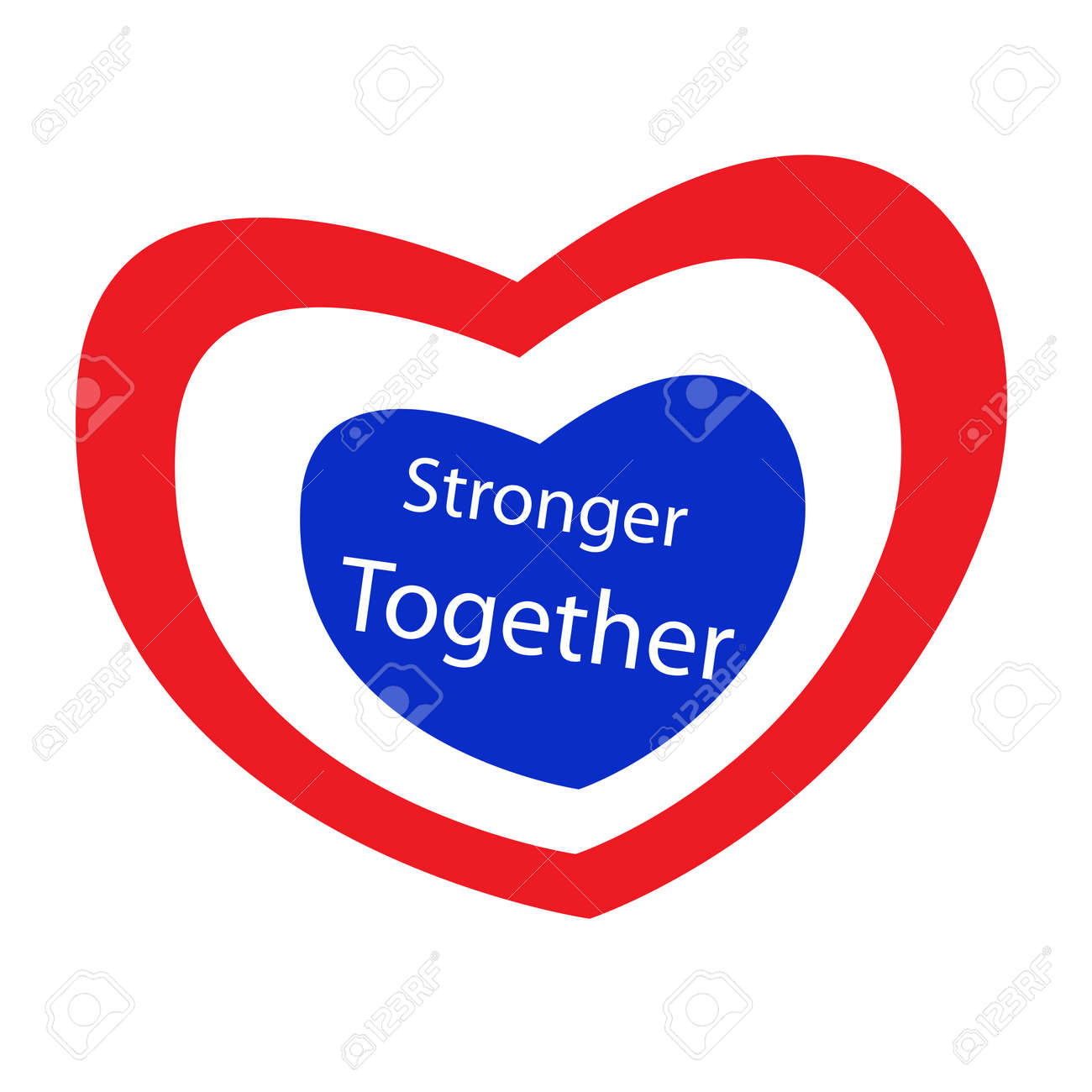 Stripe Label Of Red White And Blue Heart With Word Stronger