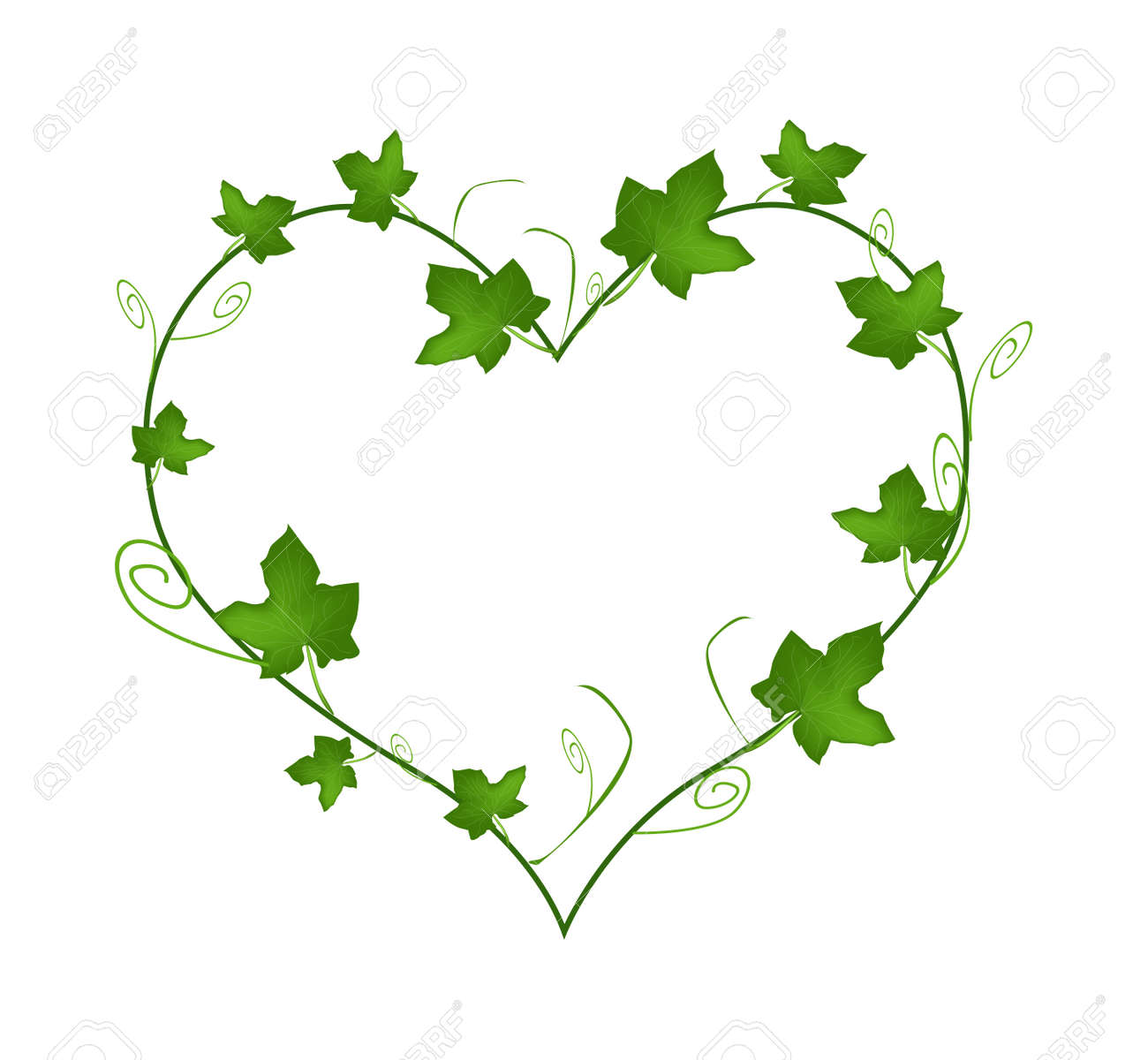 Love concept illustration of heart shape frame made of fresh love concept illustration of heart shape frame made of fresh green vine ivy leaves isolated biocorpaavc Gallery