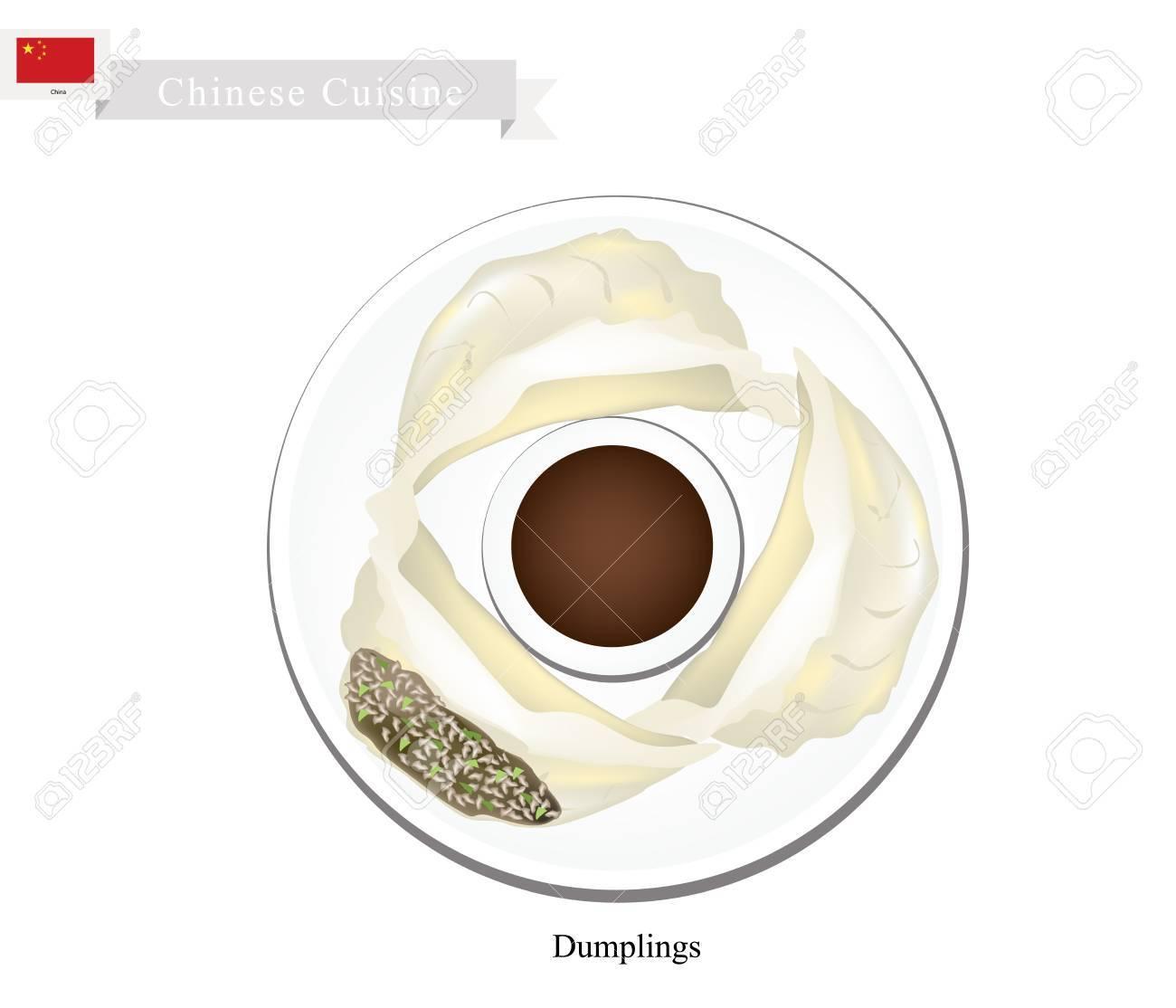 中華料理餃子や中国の蒸気餃子のイラストを添えて醤油中国で最も