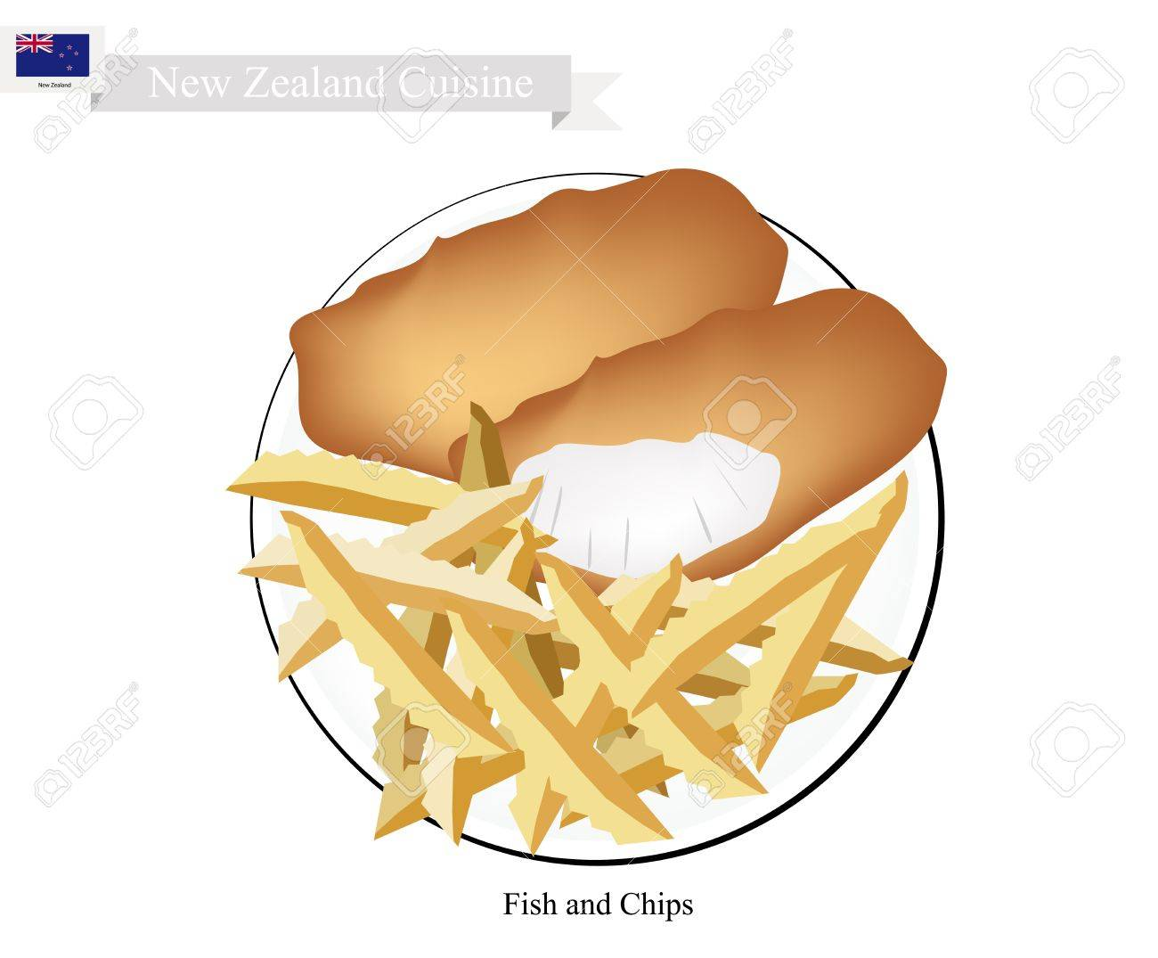 Neuseeland Küche, Illustration Der Traditionellen Fish And Chips ...