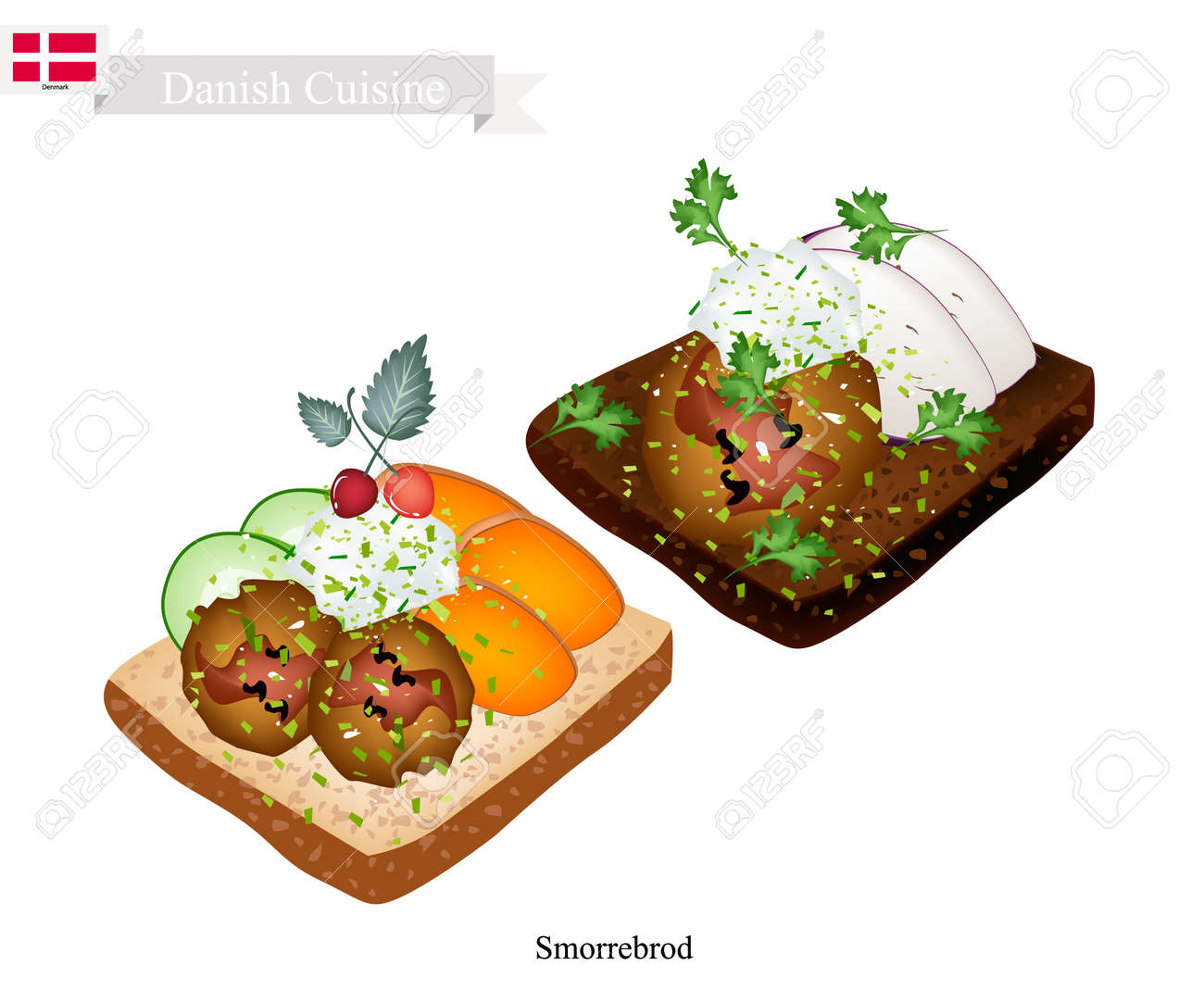 Cuisine Illustration danish cuisine, illustration of smorrebrod or traditional buttered