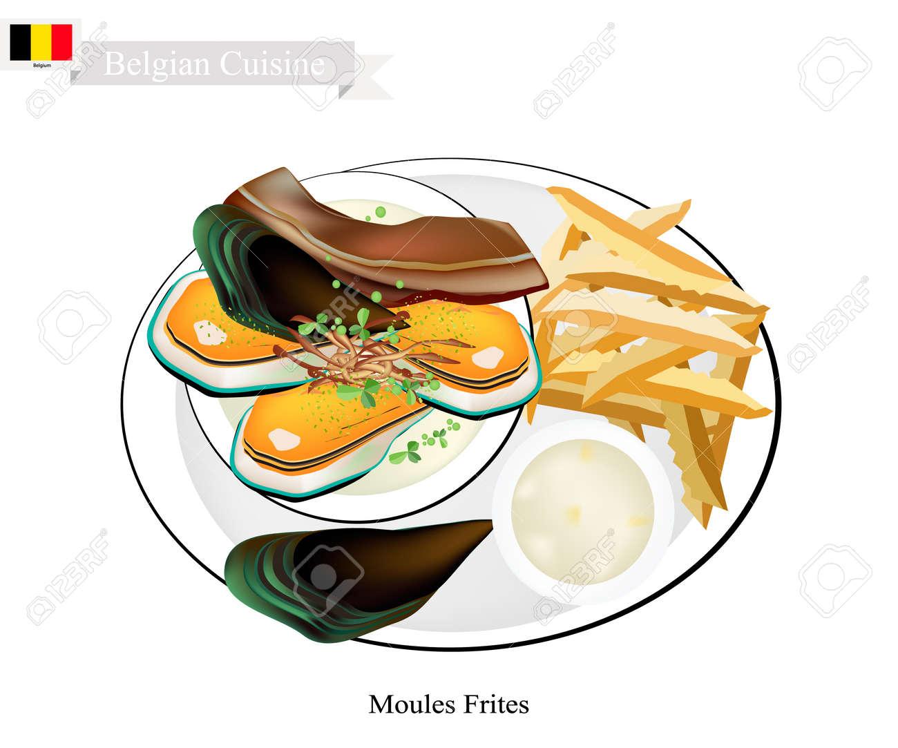 Captivating Belgische Küche, Illustration Von Moules Frites Oder Traditionelle  Gedünstete Muscheln Und Pommes Frites. Standard