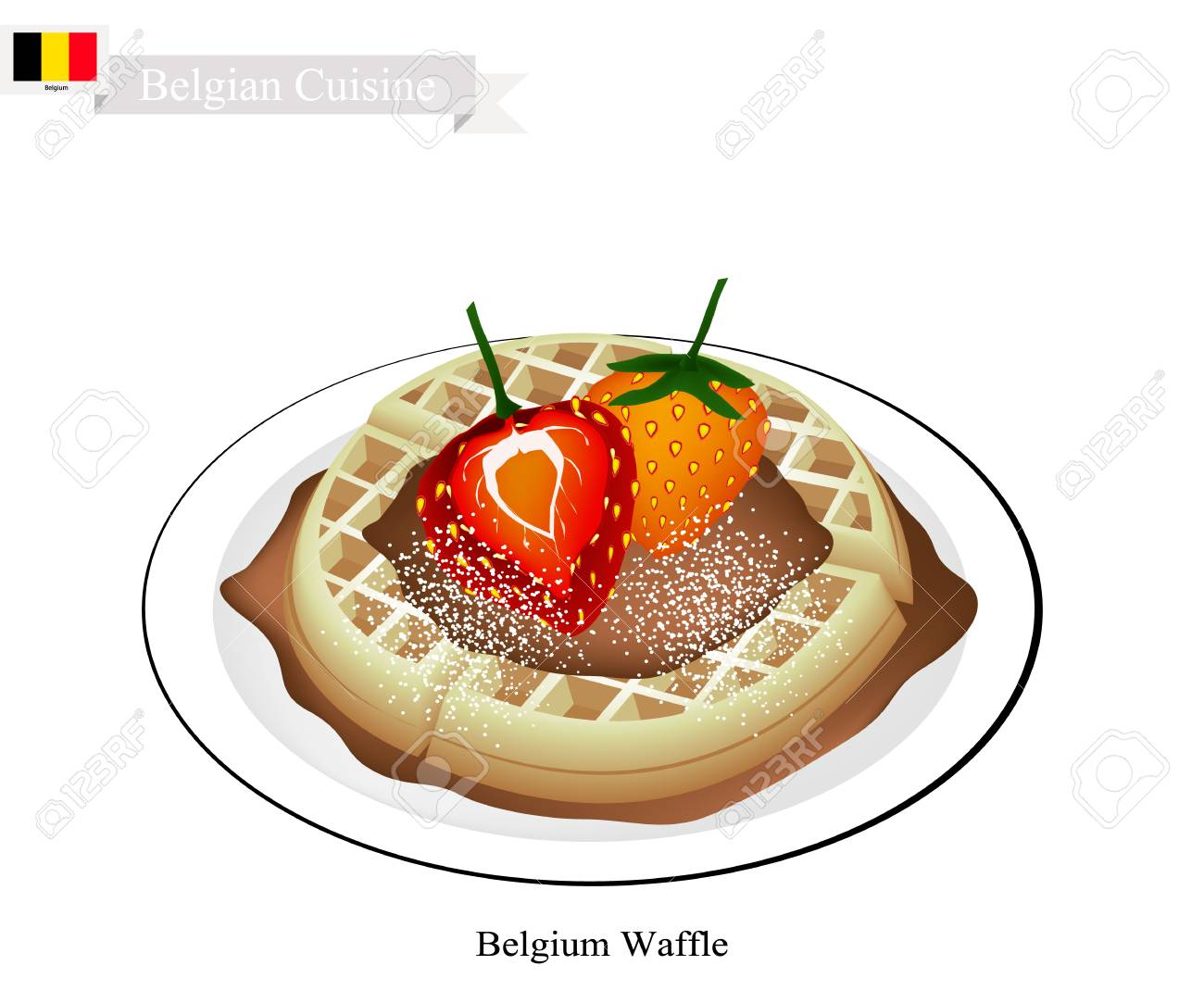 Belgische Küche, Belgien Waffel Oder Traditionelle Runde Waffel Garniert  Mit Erdbeeren Und Sirup. Eines