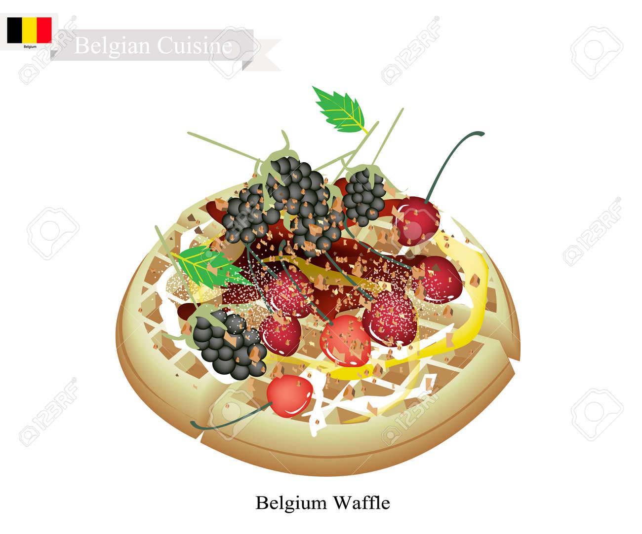 Attractive Belgische Küche, Belgien Waffel Oder Traditionelle Runde Waffel Gekrönt Mit  Brombeeren, Kirschen Und Sirup