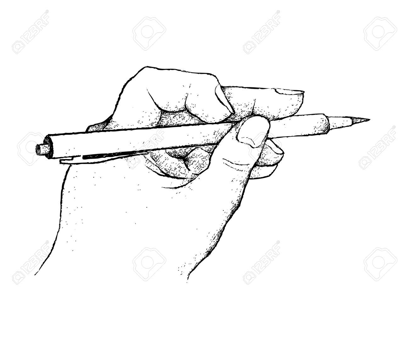 Illustration of hand drawn sketch person holding a pen and planning for sketch write or