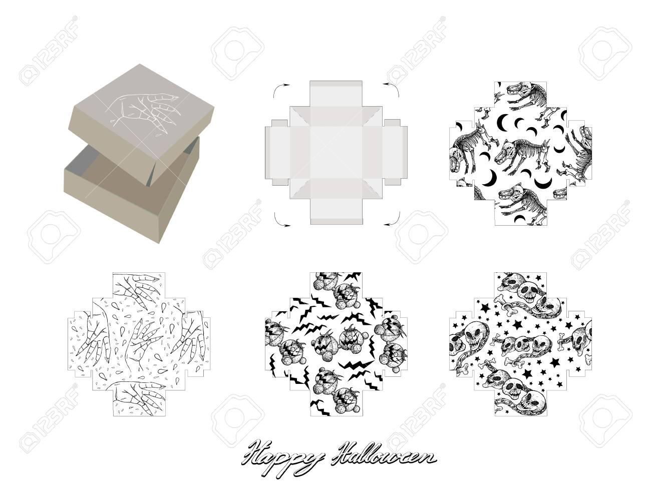 die cut template pattern of takeaway carton box mock up for package