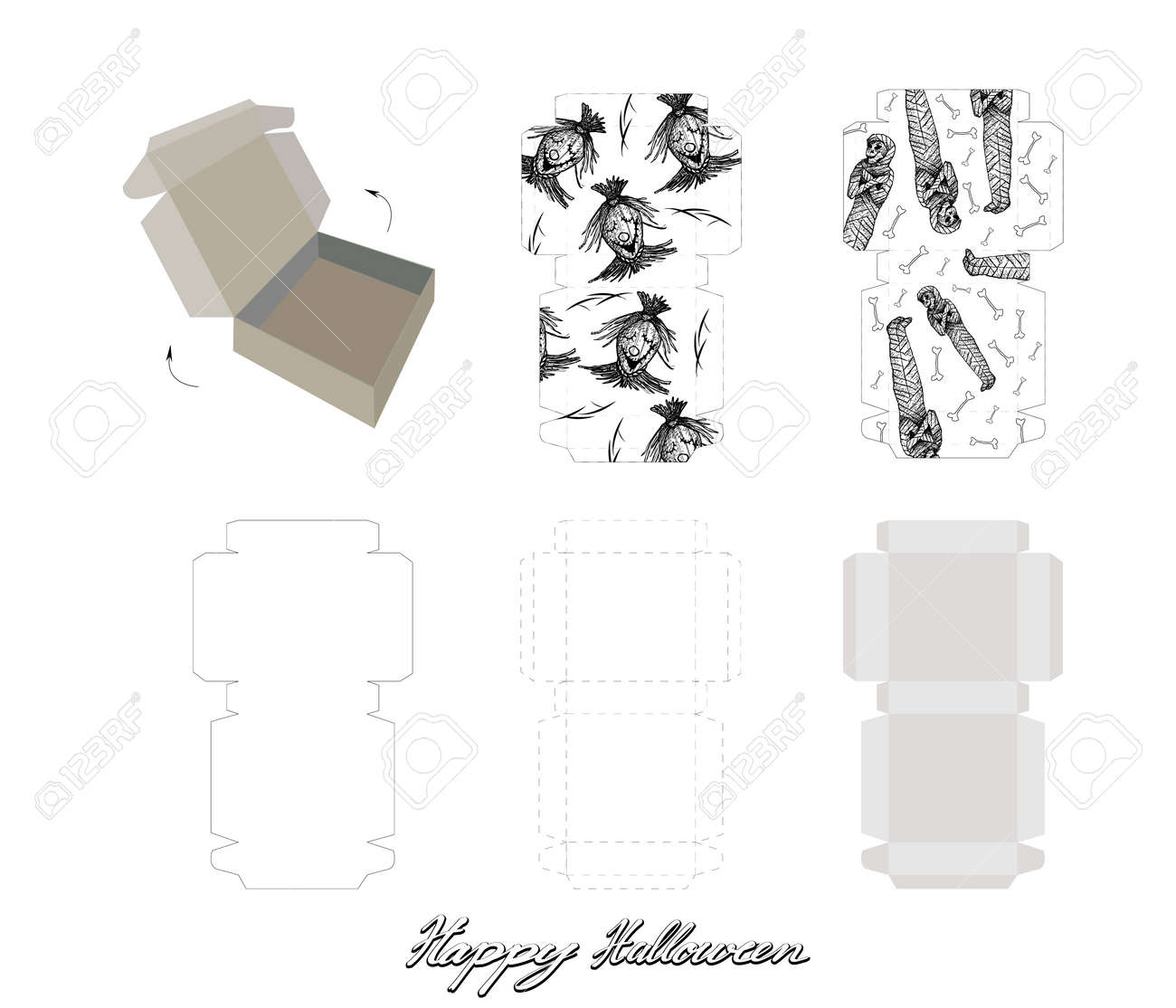 Die Cut Template Pattern Of Takeaway Carton Box Mock Up For Package Design With Evil