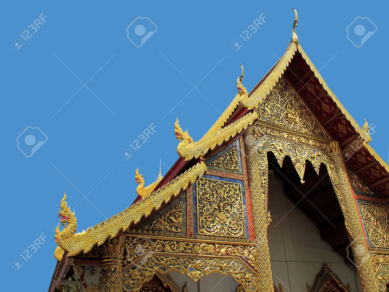 Gable roof of the temple in Thailand with clipping path Stock Photo - 12379528