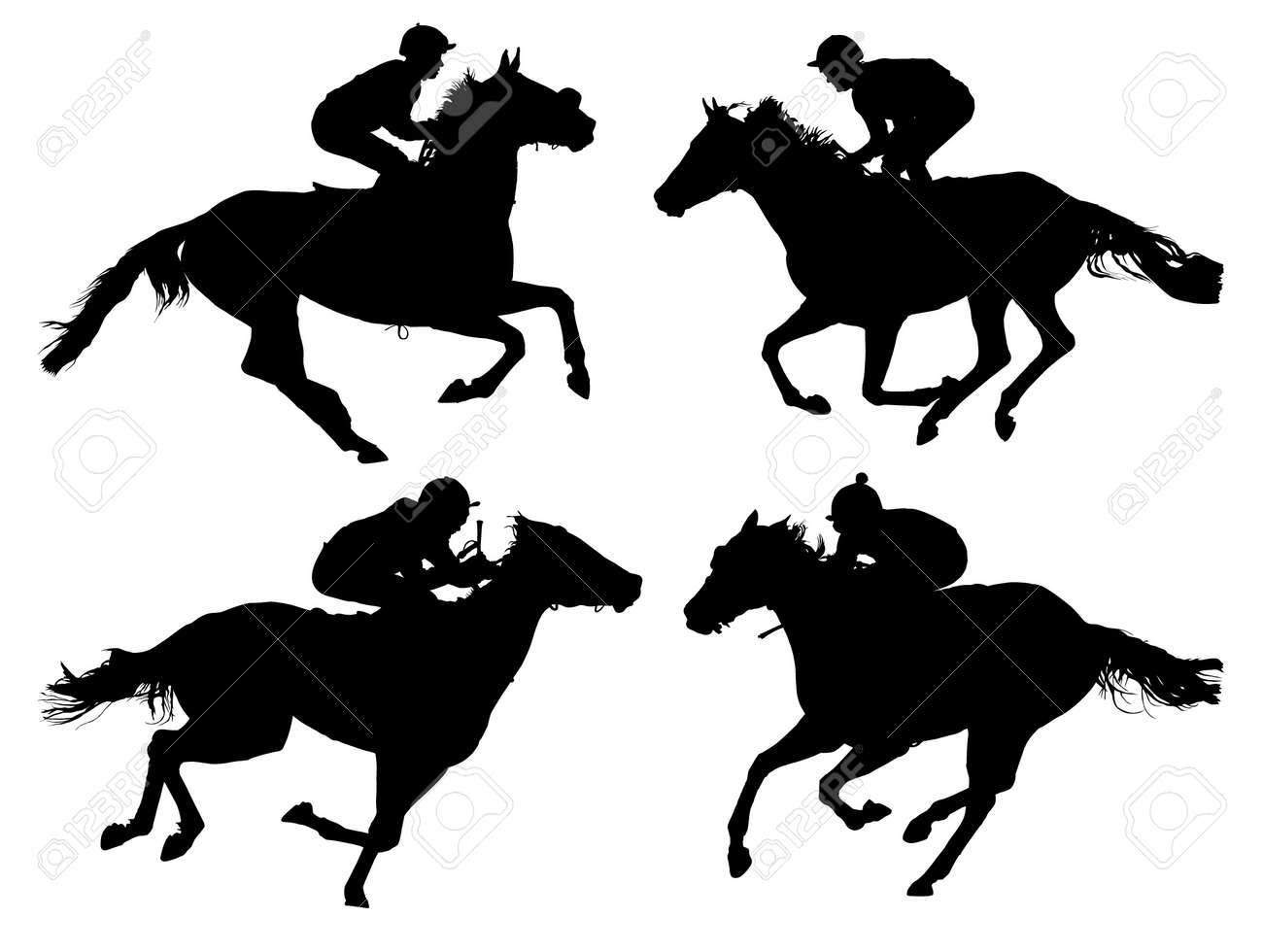 Horse Silhouette Horse Racing Silhouette on