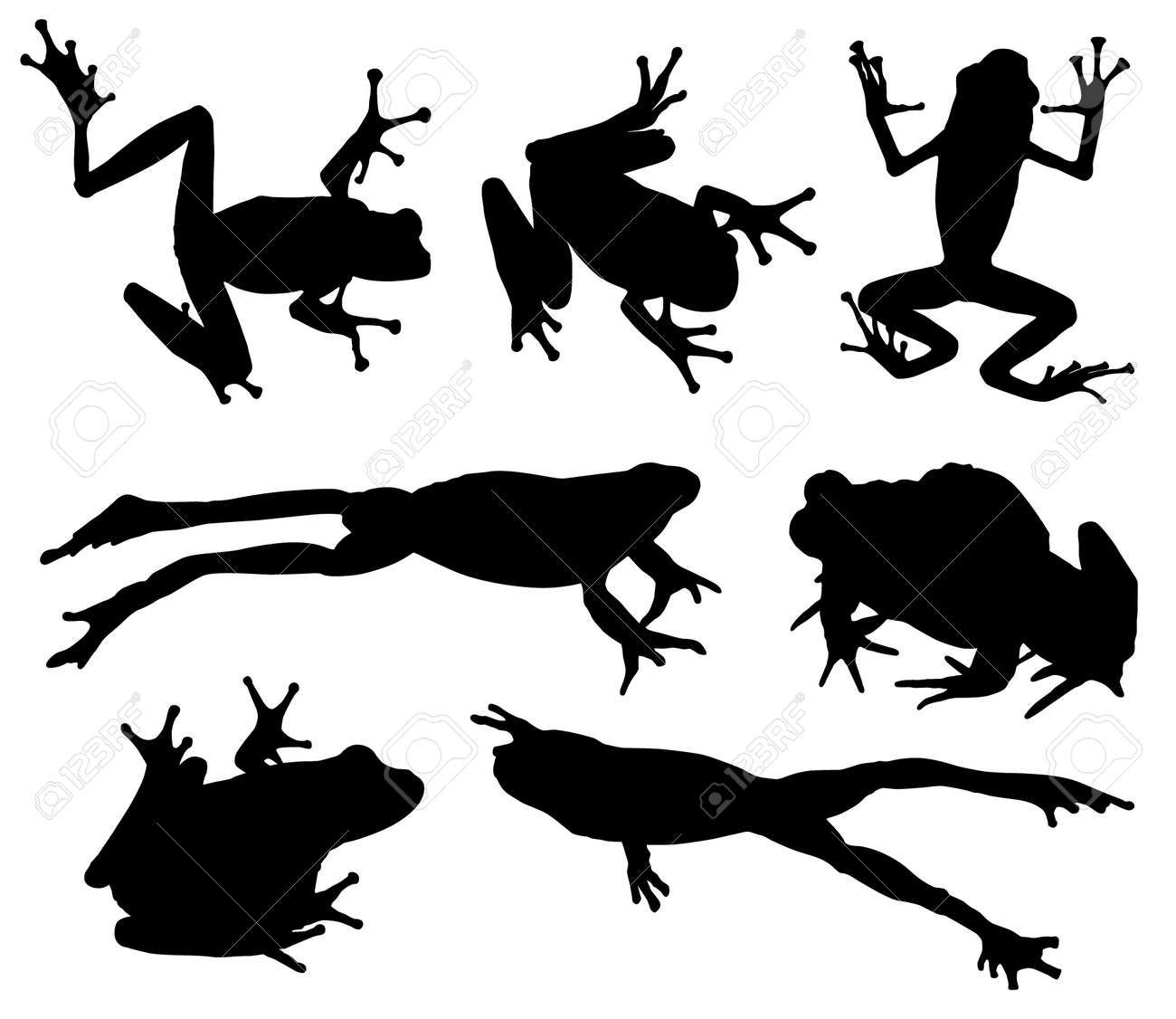 frog silhouette on white background royalty free cliparts vectors rh 123rf com Plant Silhouette Vector Mushrooms Silhouette Vector