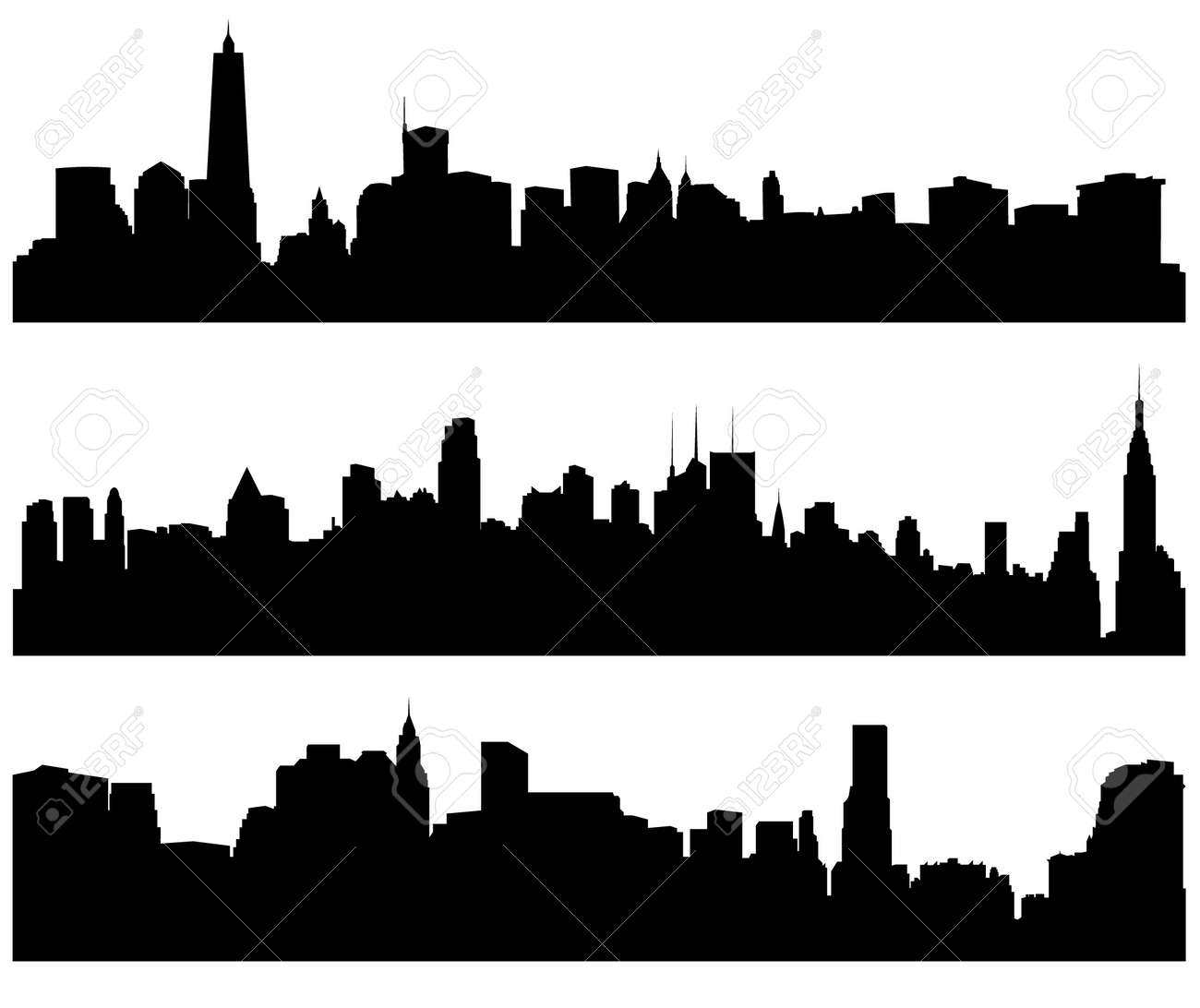 city skylines silhouette on white background royalty free cliparts