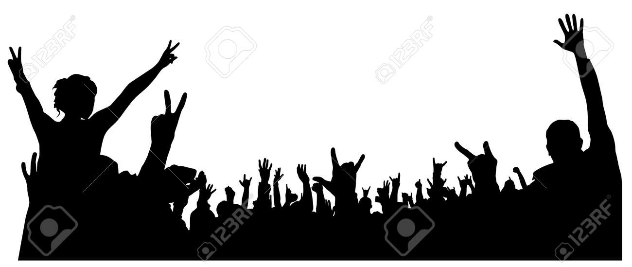 Concert Crowd Silhouette on white background Stock Vector - 16513174
