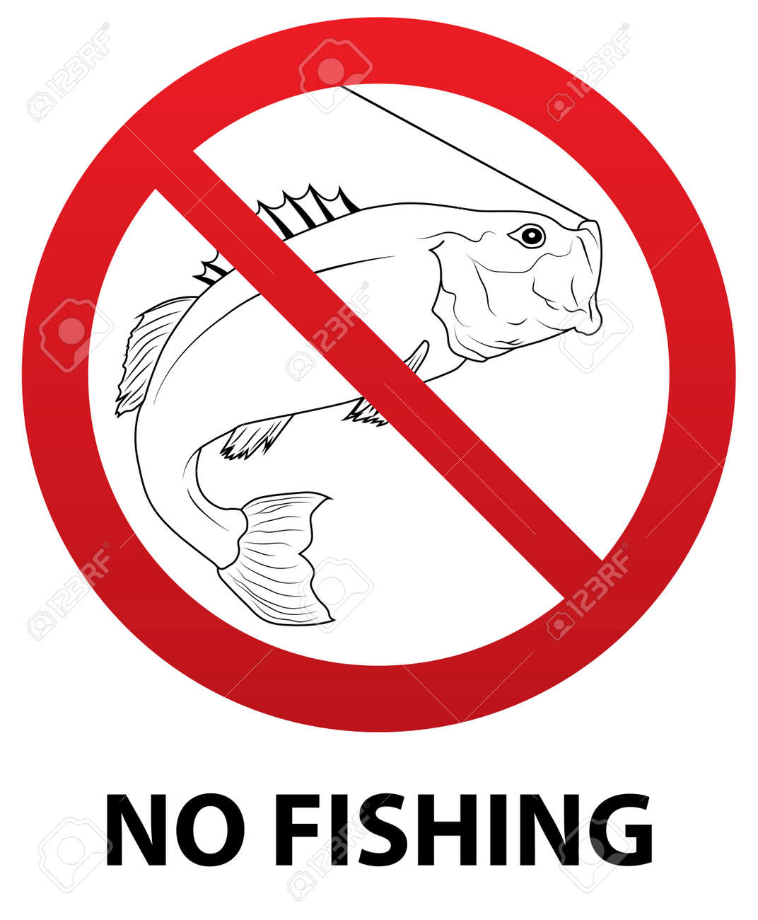 No Fishing Sign With Fish Outline Inside Royalty Free Cliparts ...