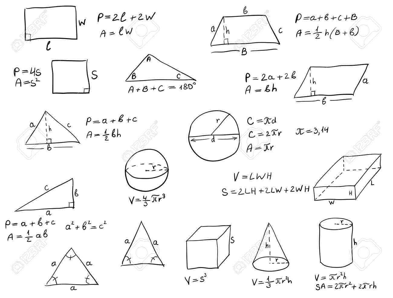 Background With Hand Written Geometry Formulas And Geometric ...
