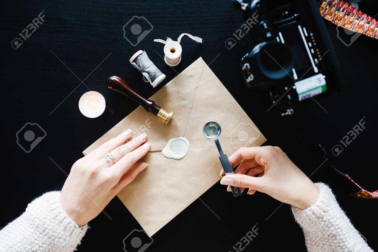 Stock Photo   Table Top Calligrapher, Envelope Tape Seal Sealing Wax