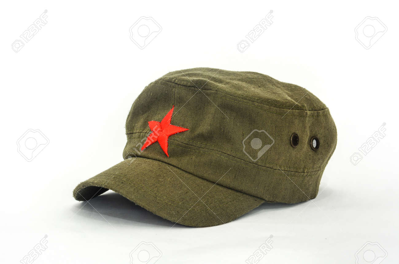 3c32f844a83 chinese red star cap (mao style hat) on white background Stock Photo -  71529898