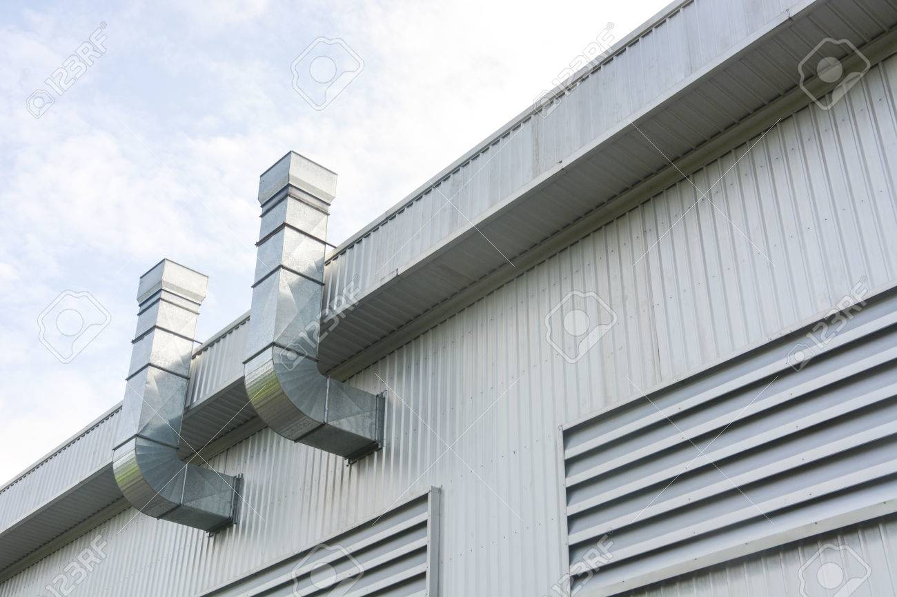 metal sheet for industrial building with air duct and ventilation