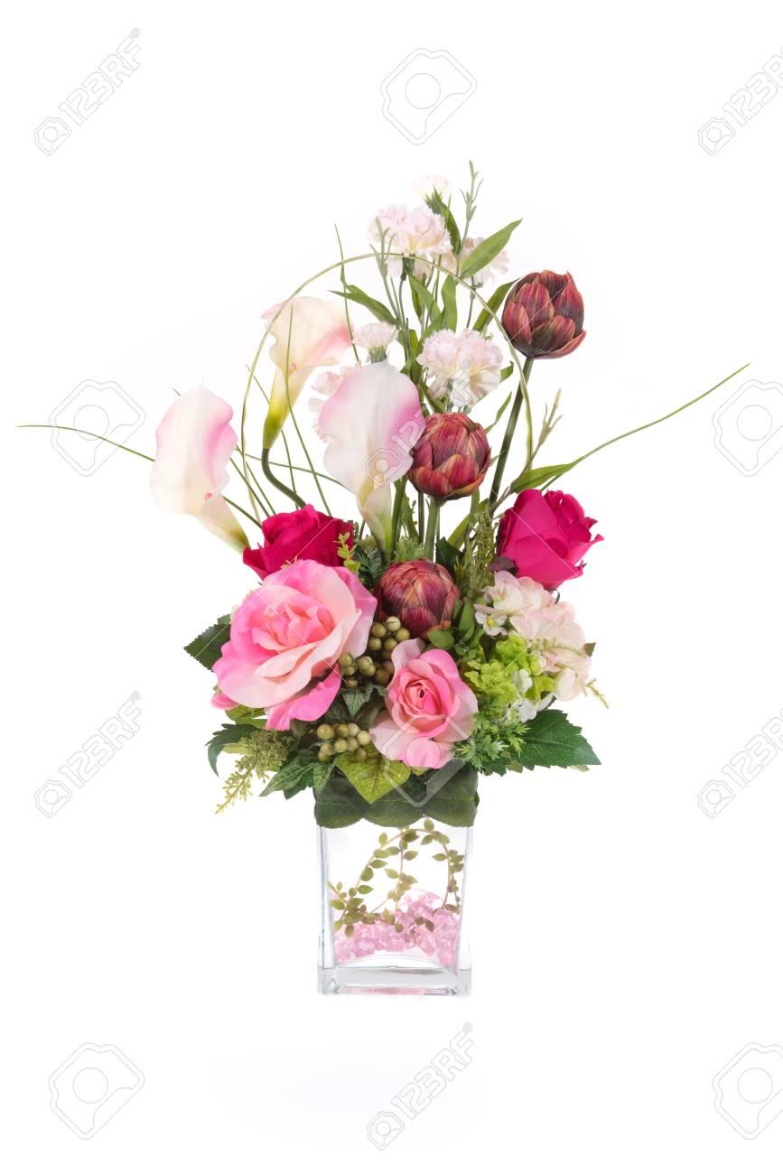 Decoration Fleur Artificielle En Plastique Avec Vase En Verre