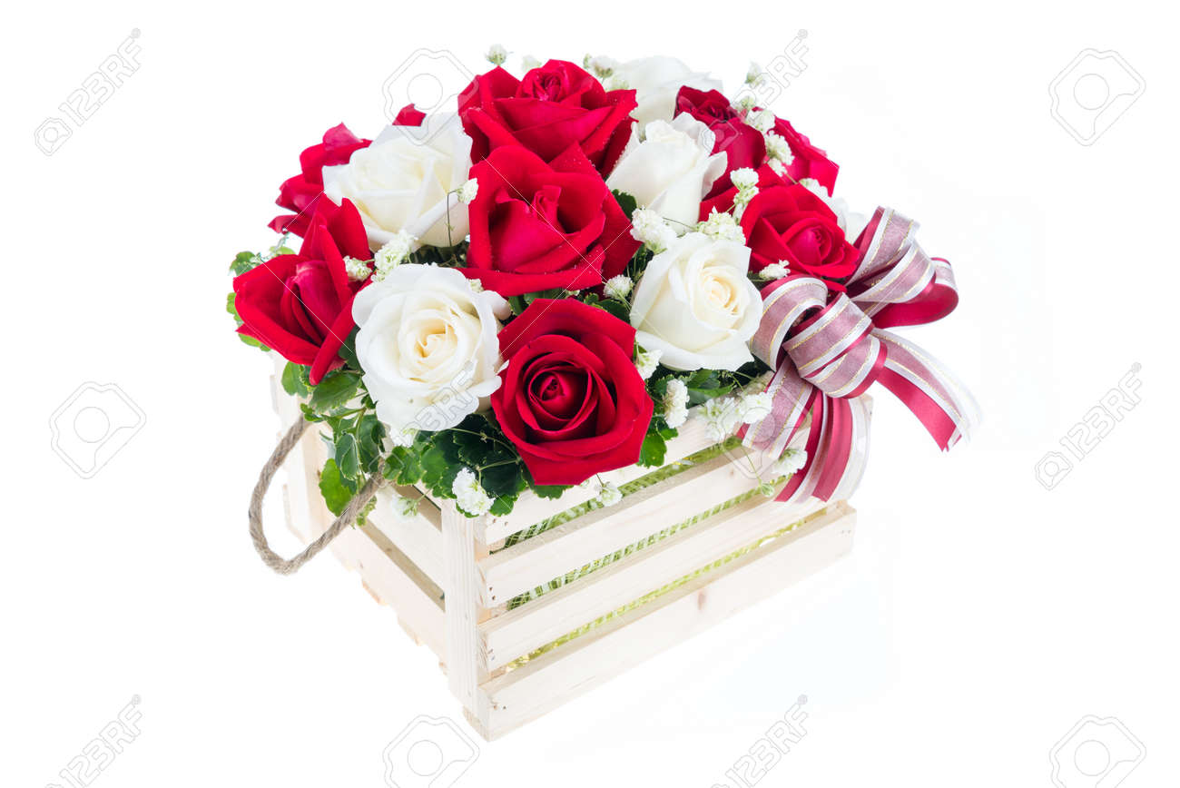 Red and white rose in a wooden basket with beautiful ribbon stock red and white rose in a wooden basket with beautiful ribbon gift for valentine stock izmirmasajfo