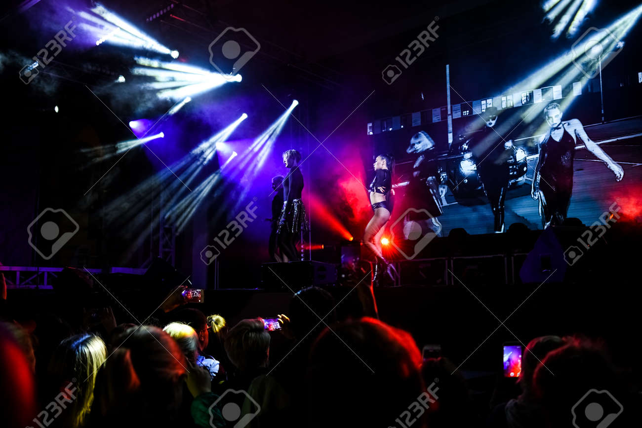 cheering crowd at a concert, show neon people scene - 133911933