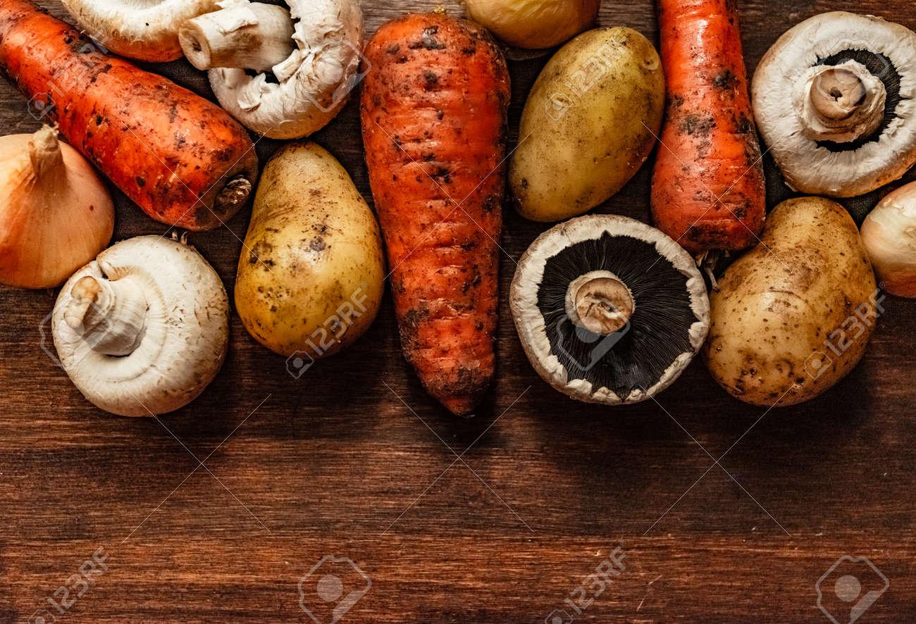 set of fresh village vegetables on the Board, banner background. - 149143007