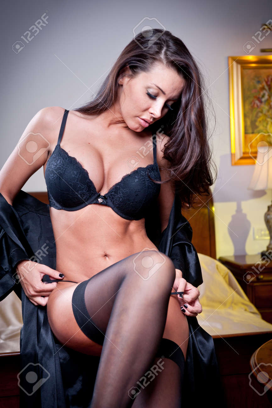 Black lingerie sexy woman