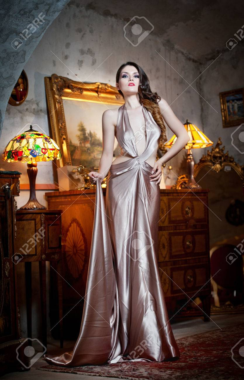Young beautiful luxurious woman in long elegant dress  Beautiful young woman in a luxurious classic interior  Seductive brunette woman in luxury manor, vintage style Stock Photo - 24533863