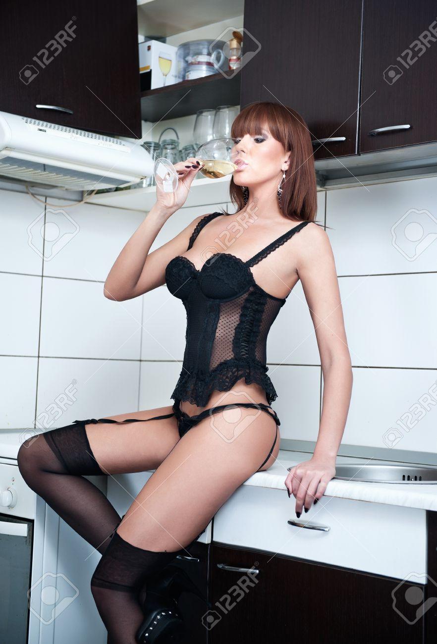 Blonde Stockings Black Cock