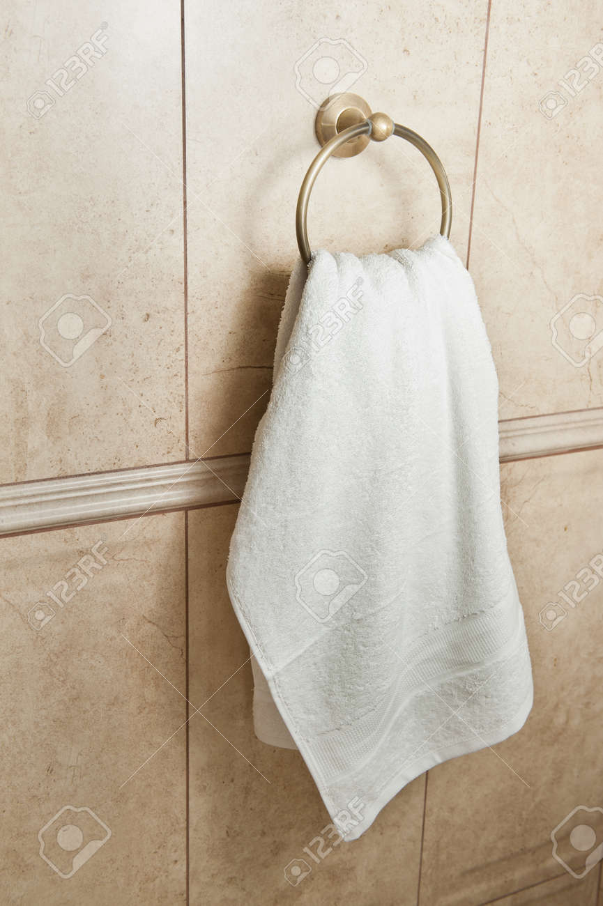 White Hand Towel On Metallic Hanger Close Up Background Of A Stock Photo Picture And Royalty Free Image Image 32219298