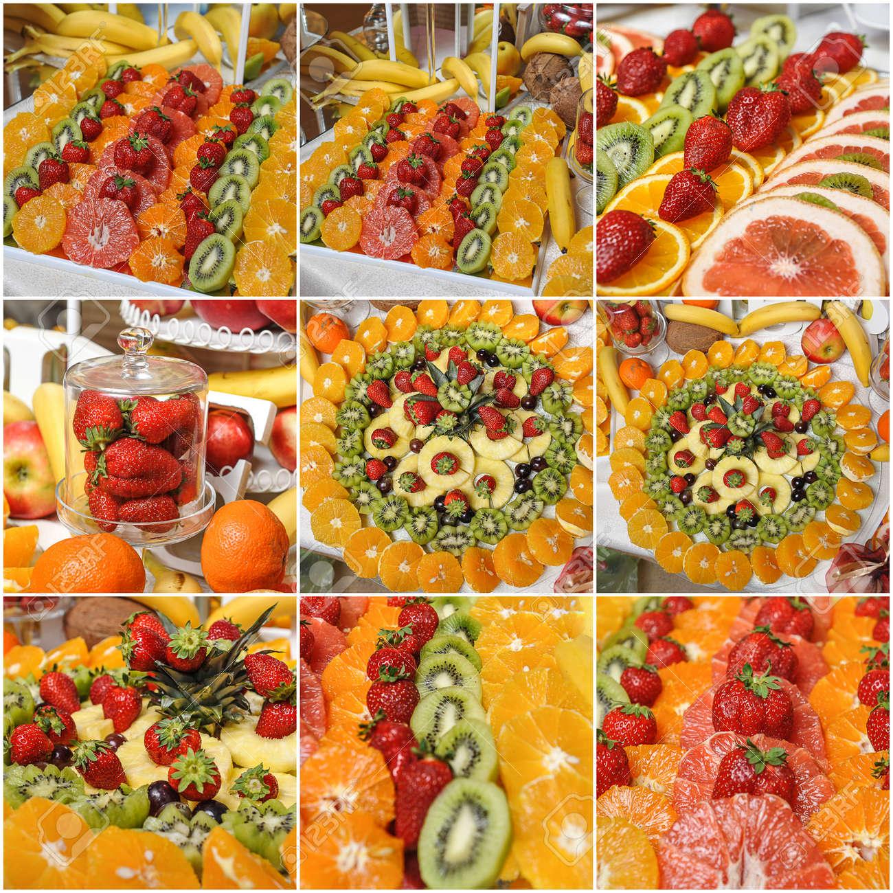 Carved Fruits Arrangement Fresh Various Fruits Assortment Of