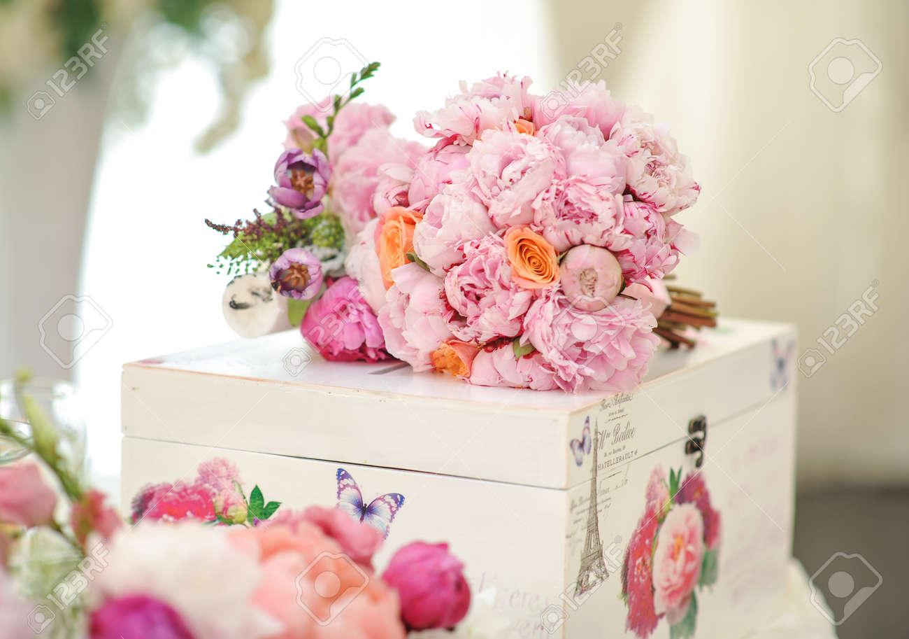 wedding decoration on table. floral arrangements and decoration