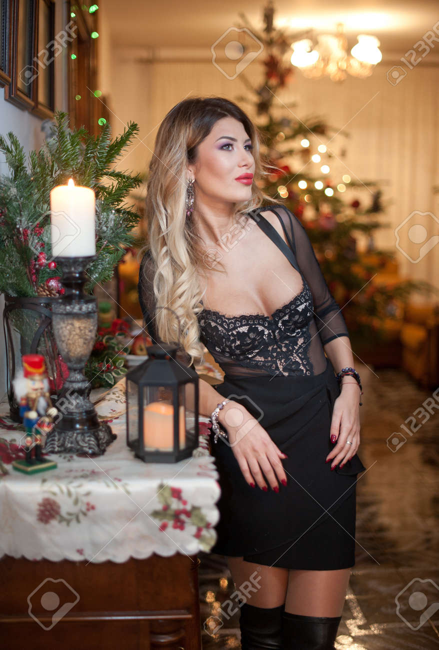 Style sexy women in christmas stockings bitch