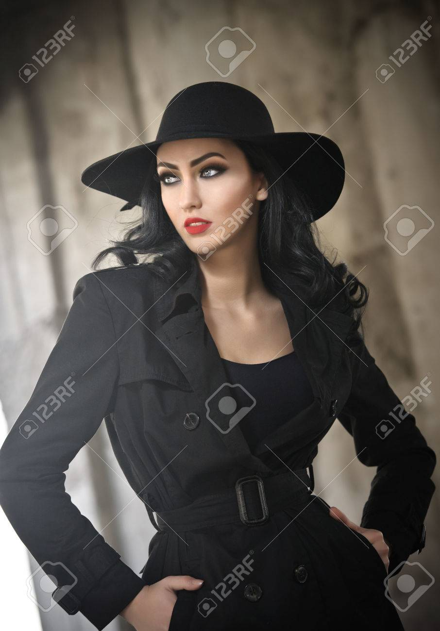 Beautiful Young Woman In Black Outfit Urban Concept Elegant Brunette With Hat Posing With