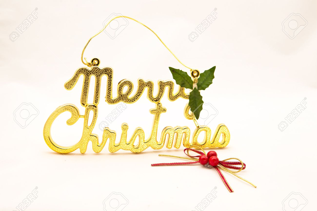 Christmas Decorations Words Merry Christmas In Gold Stock Photo ...