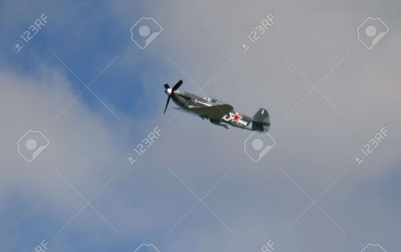 Yakovlev Ya-3 in flight. Owned by Will Greenwood, flying in the Normandie Niemen colours of Louis Delfino Stock Photo - 83511645