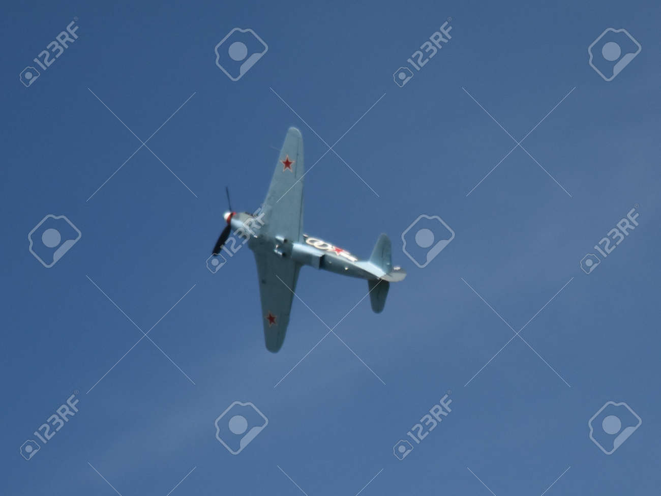 Yakovlev Ya-3 in flight. Owned by Will Greenwood, flying in the Normandie Niemen colours of Louis Delfino Stock Photo - 83511644
