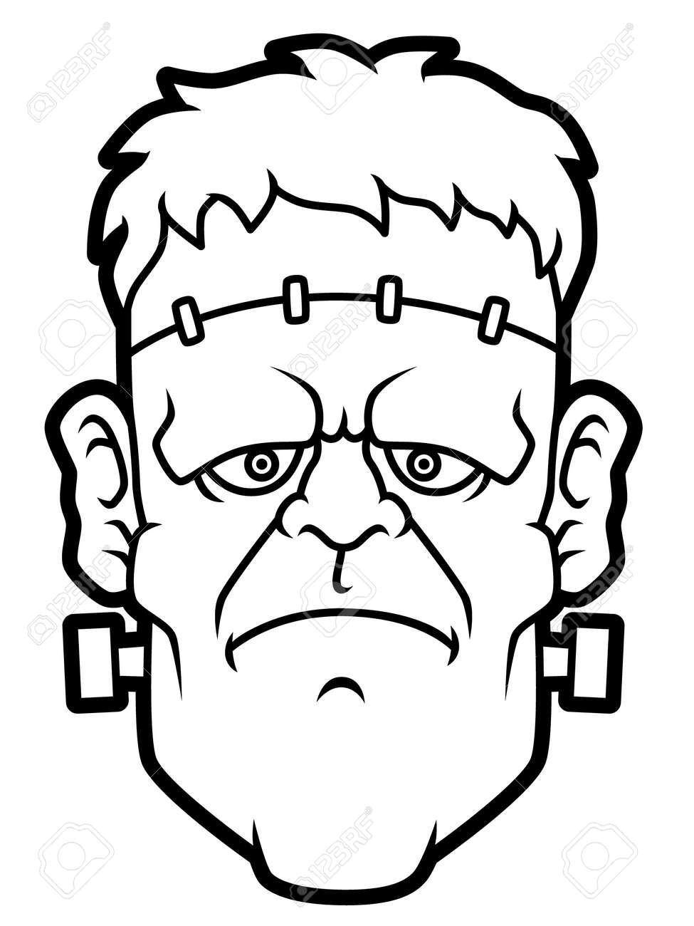Cartoon Frankenstein Head Line Art Stock Vector