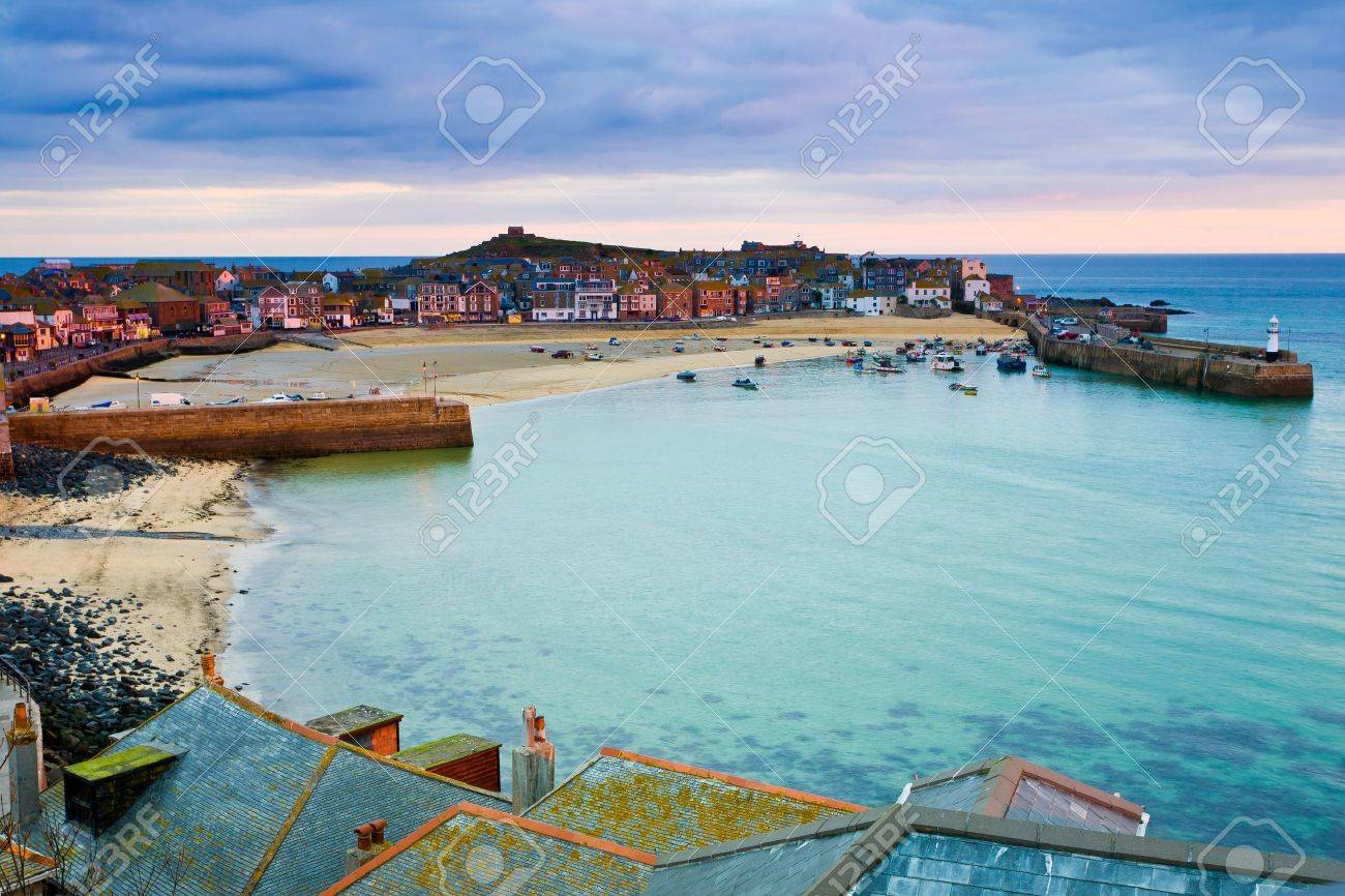 Roof top view of the harbour at St. Ives Cornwall UK Stock Photo - 13212337