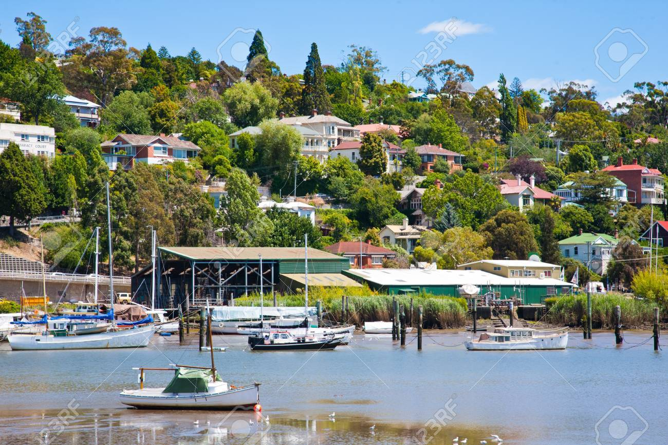 Boats on the River Tamar Launceston, Tasmania Australia, from Kings Park Stock Photo - 13212483